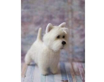 Needle Felted Westie, West Highland White Terrier, Custom Made Dog Portrait, Westie