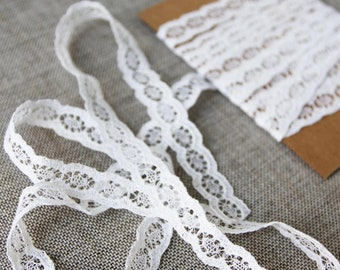 "Vintage lace trim, Floral white lace, 1cm or 3/8"" wide lace, vintage bridal lace"