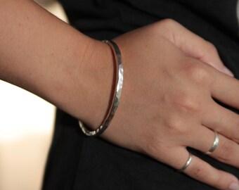 bangle - bracelet - hammered sterling silver solid bangle, handmade to order  Australian shop