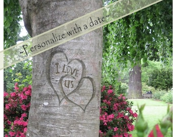 I Love Us, Digital tree carving with message, Rose Garden, WITH or WITHOUT date, Print, Wedding, Anniversary, Gift of Love, 3 size options