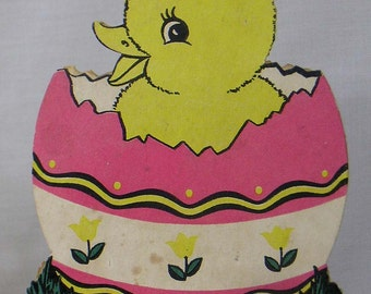 Vintage Stiff Paper Diecut Easter Chick and Egg Candy Container Box