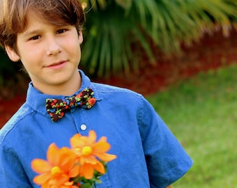 Boys Brown Floral Bow Tie - Orange Blue on Brown Flower Cotton Bowtie, bow tie for infant baby toddler child preteen boy, wedding bow tie