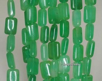 12x8mm Garden Green Jade Gemstone Rectangle 12x8mm Loose Beads 15.5 inch Full Strand (90188830-82)