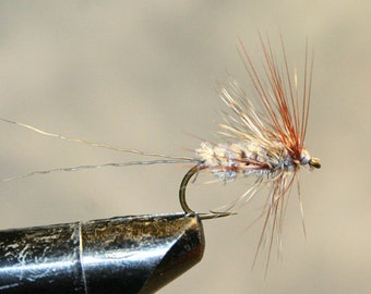 Fly Fishing Flies - Michigan Fisherman - Gray - Made in Michigan Fishing Fly - Grizzly and Brown Hackle - Gray deer hair tail - #10 Hook