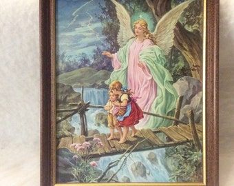 Vintage ange gardien sur le pont avec les enfants impression. Excellente. Navire gratuit aux États-Unis