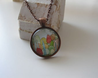 Lovely Landscape - mini print necklace pendant and chain