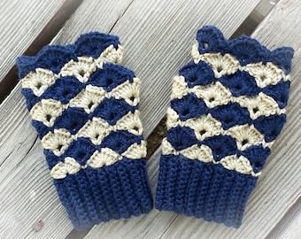 Harlequin Fingerless Mitts (gloves) crochet pattern