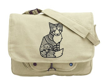 Doodle Fox Embroidered Canvas Messenger Bag