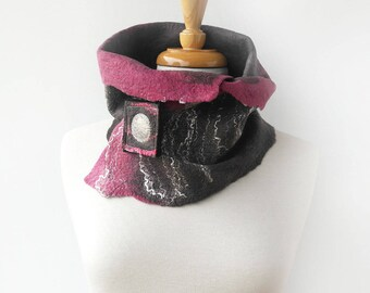 Grey Wool Felt Scarf - Pink and Gray Neckwarmer with Scarf Pin - Felted Scarves