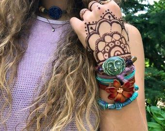 clay NECKLACE,clay pendant,ceramic necklace, yoga necklace,zen  choker necklace,hippy necklace, festival necklace,zen necklace  Zasra
