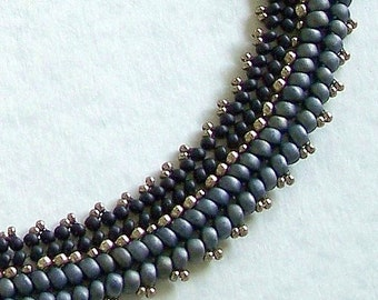 """Black, Gray & Pewter Beadwoven 19"""" Collar Necklace by Carol Wilson of Je t'adorn"""