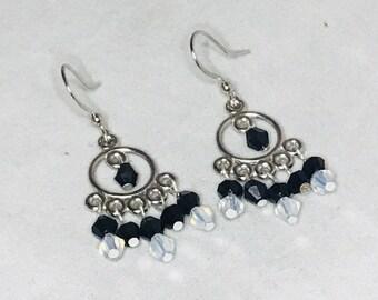 Elegant chandelier black and opaque Swarvoski crystal beaded earrings weddings anniversary birthday gift