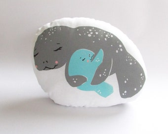 Hugging Manatee Shaped Animal Pillow. Hand Woodblock Printed. Ready to Ship.
