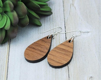 Wood Earrings - Wooden Teardrop Walnut Earrings - Small Teardrop