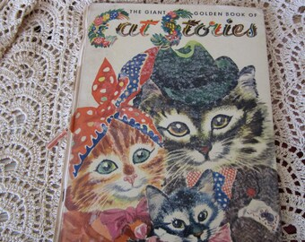 Rare Vintage The Giant Golden Book Of Cat Stories 1953