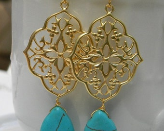 Gold and Turquoise Filigree and Dangle Earrings