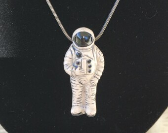 Astronaut Necklace on Chain - Ceramic Astronaut Necklace - Spaceman Necklace - Moon Man Necklace