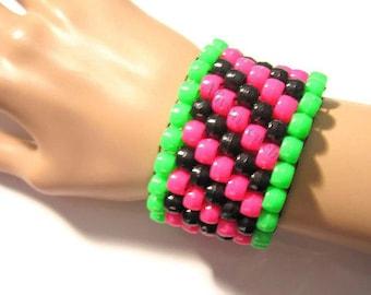 Pink, Green Kandi Cuff, Black Bracelet, Watermelon Colors, Diagonal Pattern,  Plur Rave Jewelry