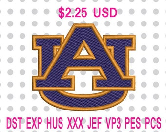 Sale 10% (was 2.50 USD) Auburn Tigers Logo Machine Embroidery Design 5 Sizes-INSTANT DOWNLOAD