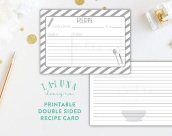 Printable Recipe Card, Bridal Shower Recipe Card, Recipe Cards, 3x5 Recipe Cards, Recipe Cards for Bridal Shower, Grey Stripe