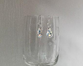 Prom earrings,wedding iridescent dangle earrings, AB pageant earrings, aurora borealis bridesmaid earrings, Swarvorski crystal