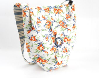 Messenger Bag • Handmade From Vintage Fabric • Orange Crocus