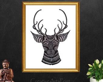 Deer, Deer Head, Deer Painting, Deer Print, Deer Decor, Deer Wall Art, Coloring Page, Art, Doodles, Deer Art, Digital Download, Animal Print