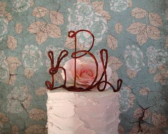 Monogram Wedding Cake Topper, Rustic Initials Cake Topper, Monogram Wedding Cake Decoration, Initials Wedding Cake Decoration, Bridal Shower