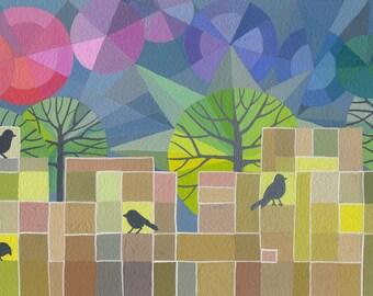 Quel que soit ils chantent impression d'art, Brian Wildsmith inspiré, au milieu du siècle de style modern avec arc-en-ciel et merles