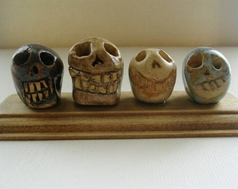 Skulls - small OOAK clay skulls - Day of the Dead- Decor