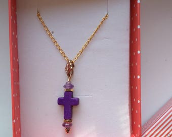 Vintage Purple Jasper Cross . Pink and Golden Purple Cross . Christmas Cross . Easter Cross . Christian Faith - Holly Cross by enchantedbeas