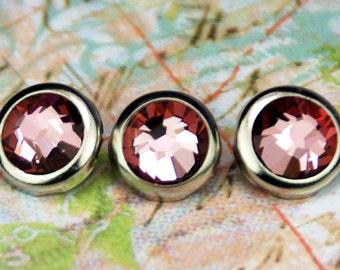 10 Crystal Antique Pink Hair Snaps - Round Silver Rim Edition -- Made with Swarovski Crystal Element Rhinestones