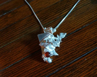 Reticulated  sterling silver Necklace with Amber