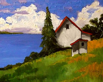 Seascape Painting Impressionist 18 x 24 CALIFORNIA Plein Air North Coast Pacific Ocean Cottage Landscape Art Lynne French