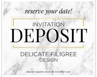 """Luxury Invitation Suite, Elegant Wedding Invitation, Indian Wedding, Rustic Invite Suite, Cursive invitations - """"Delicate Filigree"""" DEPOSIT"""