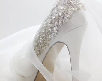 Wedding Shoes - Bridal Shoes - Crystal Embellished Wedding Shoes - Crystals - Ivory Wedding Shoes - Custom Women's Wedding Shoes  High Heels