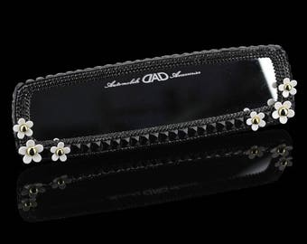 Bling Car Accessories for women Car rear view mirror Black Rhinestone White Flowers CC style Car Accessory