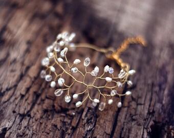 Bridal bracelet, Pearl wedding bracelet, Gold bridal vines bracelet, Gold bridal bracelet, Bridal bracelet gold, Crystal bracelet, Pearls 61
