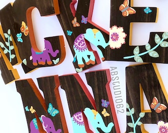 Wooden Letters for Nursery, Elephant Girl Nursery, Butterflies and Elephants, Hand Painted Wood Letters, Butterfly Nursery Decor