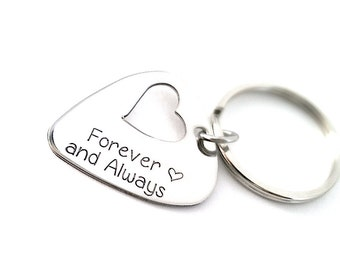 Forever And Always - Hand stamped Keychain - Guitar Pick Key Chain with Heart Cut Out - Music Lover Gift