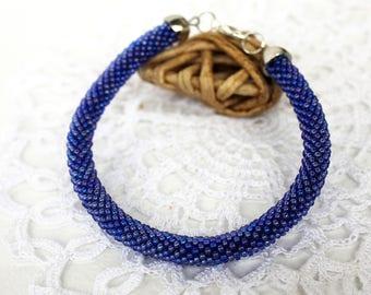 """Original Knitted Bracelet """"Winter Crystal"""""""