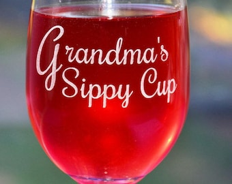 Grandmas Sippy Cup, Personalized Engraved Custom Sippy Glass for Mother's Day, Mom's Birthday, New Mom, Mum Gift, Nana Gift