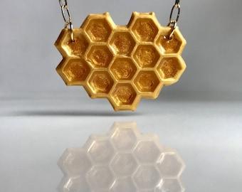 Honeycomb Necklace, Honey Necklace