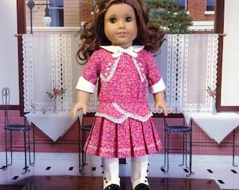 American Girl 1914 Dark Pink and White Dress