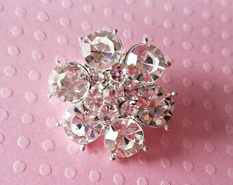 Silver Rhinestone Button. Metal Rhinestone Button. Approx. 24 mm. Qty: 1