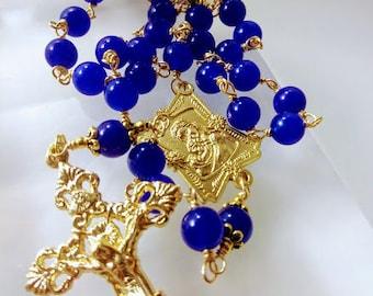 Gold Madonna centerpiece Genuine blue jade Catholic Rosary