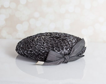 Cute Black Straw Hat with Grosgrain Ribbon