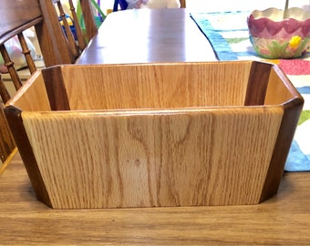 Walnut & Oak Rectangular Decorative Container