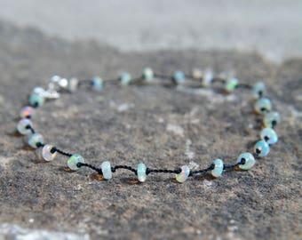 Ethiopian Opal Knotted Silk Bracelet October Birthstone