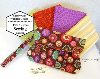 handbag sewing pattern, wristlet, clutch, sewing pattern, digital pattern, purse tutorial, purse pattern, women's gift idea, gifts to make